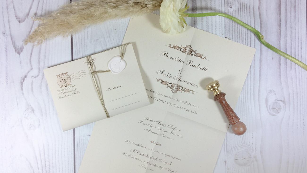 Amato Partecipazione Nozze Letters Shabby Chic, Romantica, Elegante HG94